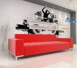 nowoczesny salon z czerwoną kanapą